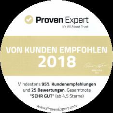 ProvenExpert Auszeichnung sehr gut 2018