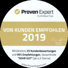 ProvenExpert Auszeichnung sehr gut 2019