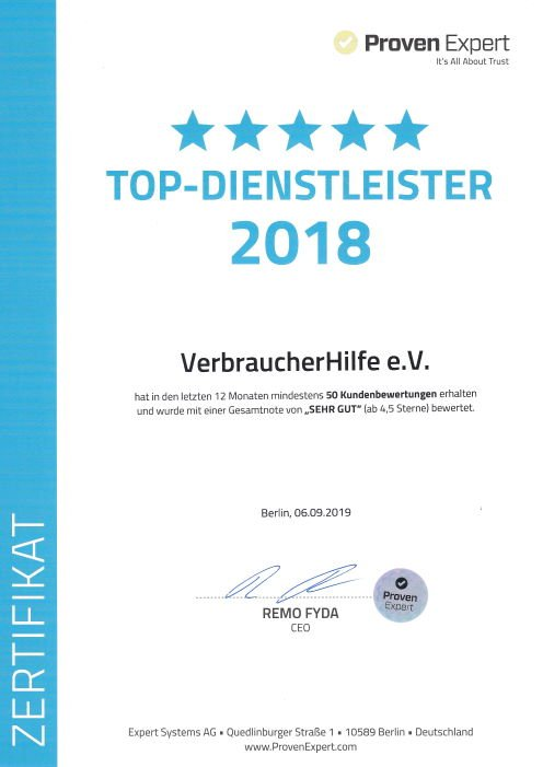VerbraucherHilfe e.V. Top Diensleister 2018