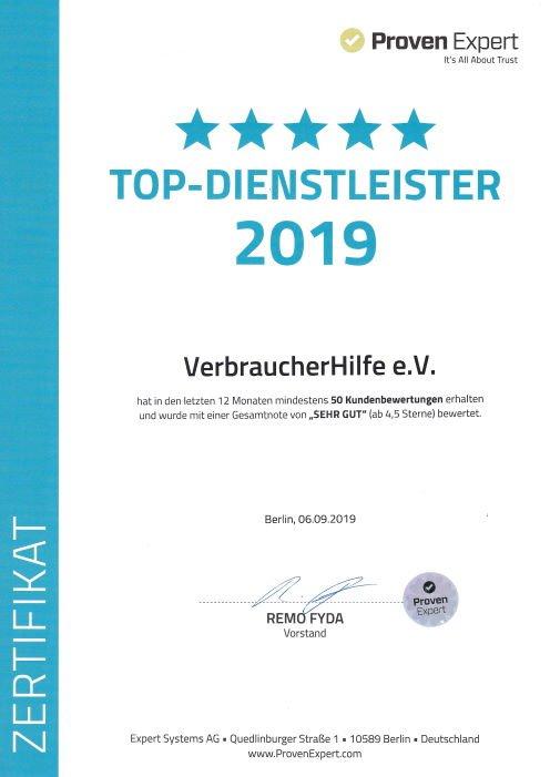 VerbraucherHilfe e.V. Top Diensleister 2019