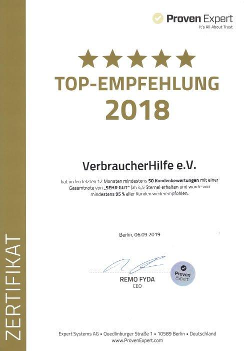 VerbraucherHilfe e.V. Top Empfehlung 2018