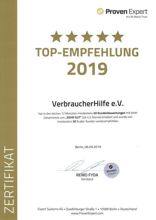 VerbraucherHilfe e.V. Top Empfehlung 2019
